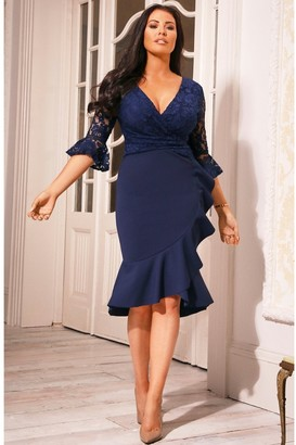 Sistaglam Tia Navy Lace Top Frill Sleeve Dress
