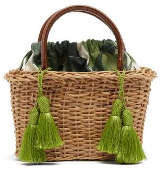 Glorinha Paranagua Palermo Canvas And Wicker Basket Bag - Womens - Brown Multi