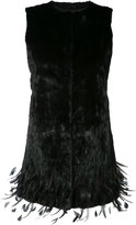 Oscar de la Renta embroidered hem vest - women - Silk/Ermine Fur/Rooster Feathers - XS