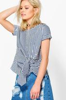 Boohoo Maisie Mixed Stripe Tie Front Shell Top