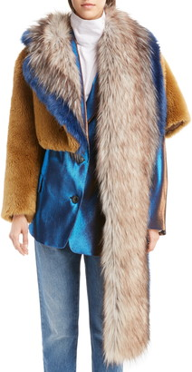 Dries Van Noten Faux Fur Asymmetrical Shrug