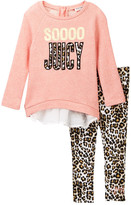 Juicy Couture SOOOO Juicy French Terry Chiffon Back Tunic & Animal Print Legging Set (Toddler Girls)