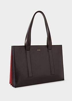 Women's Black 'Concertina' Small Leather Tote Bag