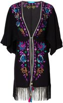 Matthew Williamson Black Floral Embroidered Silk Kimono