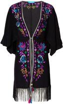 Matthew Williamson Black Floral Embroidered Silk Kimono