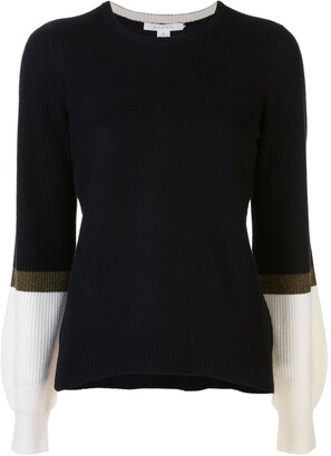 Duffy Contrast-Sleeve Cashmere Jumper