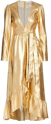 Zimmermann Ladybeetle Leather Metallic Belted Dress