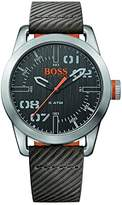 HUGO BOSS BOSS Orange Men's 'OSLO' Quartz Stainless Steel and Leather Casual Watch, Color:Grey (Model: 1513417)