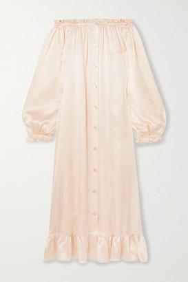 Sleeper Love Me Tender Off-the-shoulder Ruffled Silk-satin Midi Dress - Cream