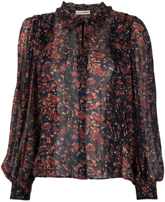 Ulla Johnson Floral Print Ruffle Collar Blouse