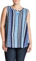 NYDJ Print Pleat Back Sleeveless Blouse (Plus Size)