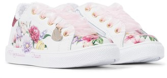 MonnaLisa Floral leather sneakers