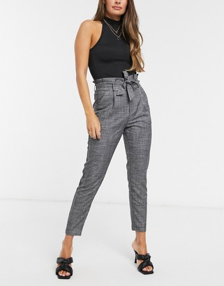 Vero Moda tailored cigarette trousers with paperbag waist in grey check