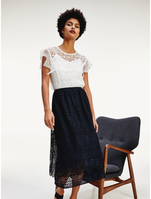 Tommy Hilfiger Lace Overlay Midi Skirt