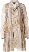 Comme des Garcons animal print pleated detailing coat - women - Acrylic/Polyester - L