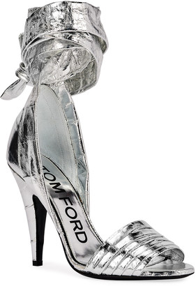 Tom Ford 105mm Metallic Eel Ankle-Wrap Sandals