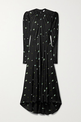 Paco Rabanne Gathered Embroidered Satin Maxi Dress - Black