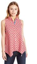 Rafaella Women's Petite Size Sleeveless Gingham Button Down Blouse