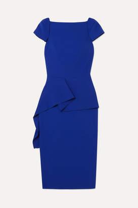 Roland Mouret Aldingham Asymmetric Crepe Peplum Dress - Blue