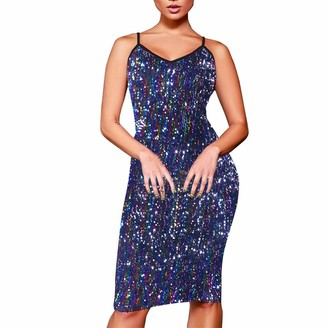 Sunday77 Dress Women Dress Sunday77 Sequin V-Neck Bodycon Sleeveless Plus Size Backless Mid-Calf Evening Party Beach Cocktail Casual Blue