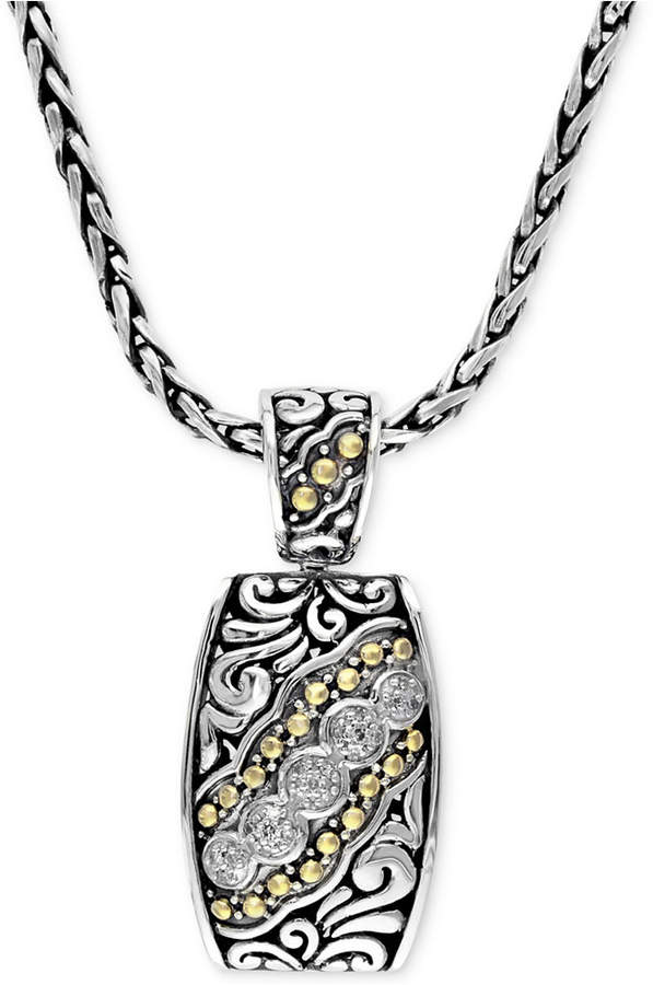 Effy Balissima by Diamond Etched Pendant (1/10 ct. t.w.) in Sterling Silver and 18k Gold