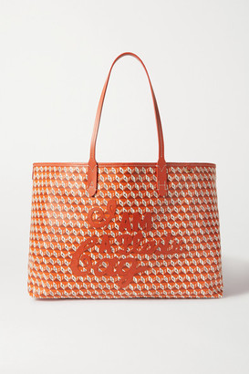 Anya Hindmarch + Net Sustain I Am A Plastic Bag Large Leather-trimmed Printed Coated-canvas Tote - Orange