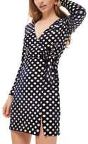Topshop Foil Spot Wrap Dress