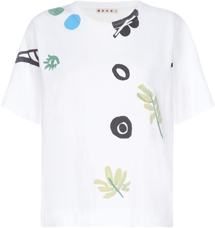 Marni Logo And Print Cotton T-shirt
