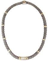 Lagos Two-Tone Diamond Caviar Bead Necklace