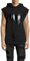 Helmut Lang Melted Year Logo Muscle Hoodie, Black