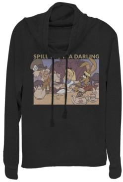 Fifth Sun Women's Alice in Wonderland Spill the Tea Fleece Cowl Neck Sweatshirt