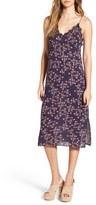 Lush Women's Lace Trim Floral Print Slipdress
