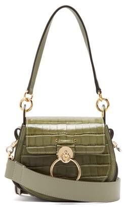 Chloé Tess Small Crocodile Effect Leather Cross Body Bag - Womens - Khaki
