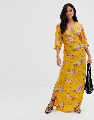 Qed London QED London wrap front maxi dress in floral print-Orange