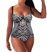 The Bazaar R Womens Sexy Retro High Waist Plus Szie Push-up Padded Bikini One Piece Swimsuit (XL, )