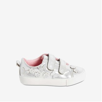 Joe Fresh Toddler Girls' Applique Sneakers, Silver (Size 6)