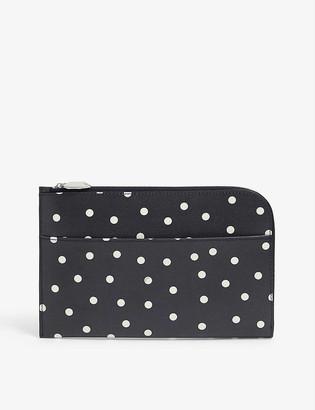 Ganni Leopard-print leather pouch
