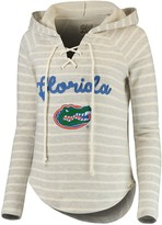 Unbranded Women's Blue 84 Cream/Heathered Gray Florida Gators Striped V-Neck Lace-Up Pullover Hoodie