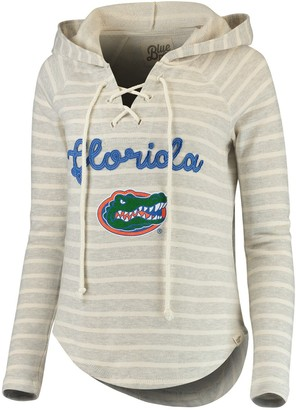 Women's Blue 84 Cream/Heathered Gray Florida Gators Striped V-Neck Lace-Up Pullover Hoodie