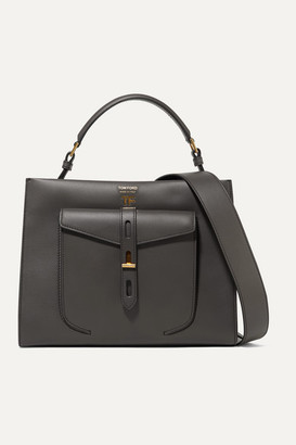 Tom Ford T Twist Small Leather Shoulder Bag - Dark gray