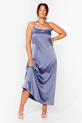 Nasty Gal Womens Cowl Back Later Plus Maxi Dress - Blue - 16