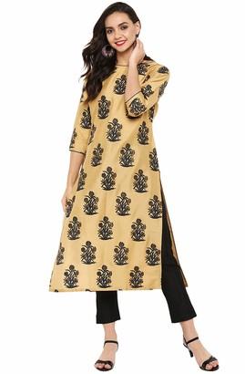 Janasya Indian Tunic Tops Poly Silk Kurti Set for Women - Gold - Medium