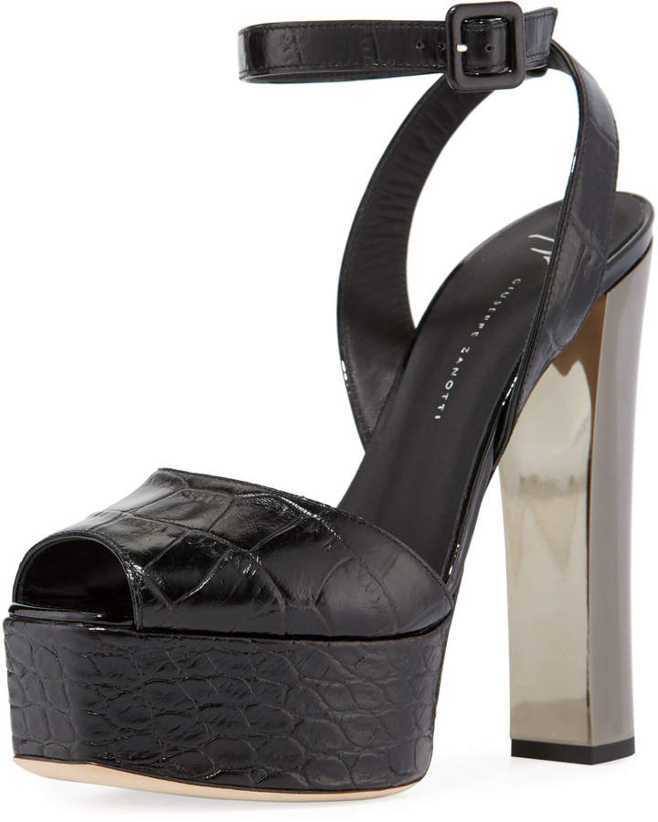 Giuseppe Zanotti Crocodile-Embossed High Platform Sandals