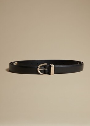 KHAITE The Brooke Double-Wrap Belt in Black with Silver