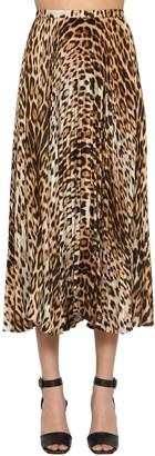 Roberto Cavalli Pleated Leopard Print Twill Midi Skirt