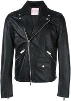 Palm Angels 'leaf' embroidery biker jacket - men - Cotton/Lamb Skin/Viscose - 52