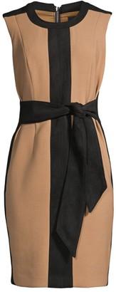Toccin Two-Tone Tie Waist Dress