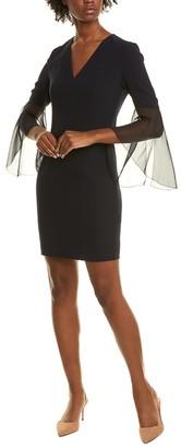 Elie Tahari Silk-Trim Sheath Dress