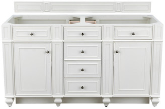 """James Martin Vanities Bristol 60"""" Double Vanity, Cottage White, Without Top"""