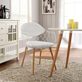 Modway Basket Dining Metal Armchair in White